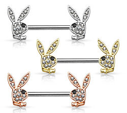 PAIR Crystal Paved Playboy Bunny Nipple Shields Rings Barbells Body Jewelry $10.75