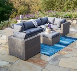 SUPERNOVA 7PC Outdoor Patio Sectional Furniture Wicker Sofa Set