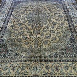 8.7'x7.1' Hand Knotted Wool Silk Multi-color Persian Rug for Living Room