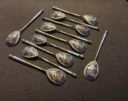 Set Of 11 Russian Imperial Silver 84 Enamel Spoons Weight 173 Gr Hallmarked НП