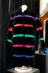 YVES SAINT LAURENT 1980s Magnificent black sheepskin coat and multicolored suede
