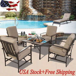 5 PCS Patio Furniture Set Chair & BBQ Stove Fire Pit Fireplace Steel Frame New