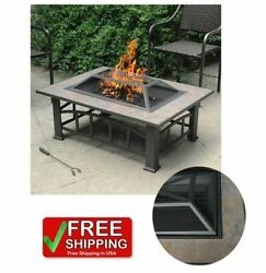 Outdoor Fire Pit Fireplace Patio Wood Burning Bowl Table Backyard Porch Heater