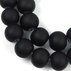8mm Matte Frosted Neon Rubberized Glass Round Beads -  Black 16