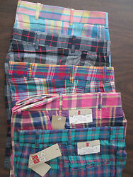 Girls Shorts Plaid cotton blue green Pink Blue Yellow 8 10 12 14 16 18 20 NEW $3.99