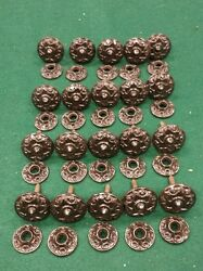 20 Antique Eastlake cast iron cabinet Knobs pulls with backplates