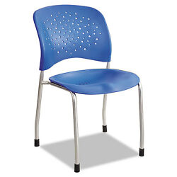 Safco Rêve Series Guest Chair W Straight Legs Lapis Plastic Silver Steel 2