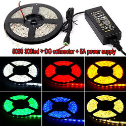 5M Waterproof 3528 5050 SMD 300 LED Strip Rope Lights  DC Connector  12V Power $5.99