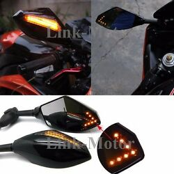 UNIVERSAL GLOSS BLACK INTEGRATED MOTORCYCLE MIRRORS W LED TURN SIGNALS BLINKERS