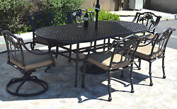6-person cast aluminum patio dining set  Palm Tree chairs - swivels Nassau table