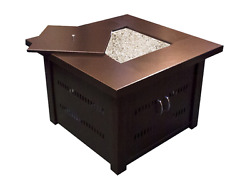 Fire Pit Table Gas Square Bronze Glass Large Outdoor Patio Deck Cover LP Fuel