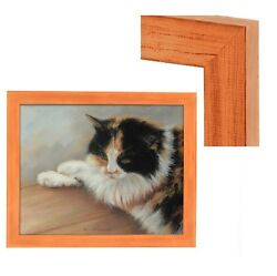 New Modern Contemporary Rustic Orange Wood Frame For Art Painting Photo Picture $86.92