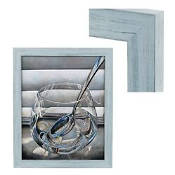 Modern Contemporary Rustic Light Blue Wood Frame For Art Painting Photo Picture $57.90