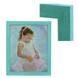 Modern Contemporary Rustic Turquoise Blue Wood Frame For Painting Photo Picture $79.29