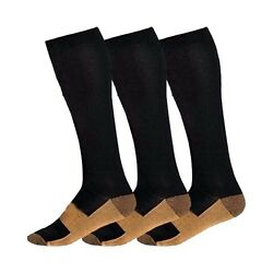 Copper Compression Socks 20-30mmHg Graduated Support Men's Women's S-XXL 3 Pairs $7.94