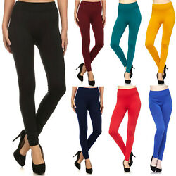 New Mix Womens FLEECE LINED LEGGINGS Thick Solid High Waisted Warm Winter Long $8.95