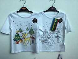 NOVELTY GIRLS COLOUR YOUR OWN CHRISTMAS T SHIRTS 2 DESIGN PENS INCLUDED 3 10 YRS GBP 4.99