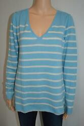 Label + thread Light BlueWhite Stripe Cashmere Sweater Sz. L