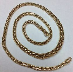 14K YELLOW GOLD WHEAT STYLE CHOKER NECKLACE 17quot; $499.00