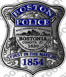 STICKER BOSTON POLICE BADGE NEW BLUE $6.50