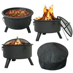 Patio Fire Pit Wood Burning Outdoor Fireplace Back Yard Garden Modern Style