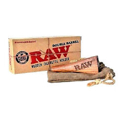 Raw Double Barrel Wooden Cigarette Holder Short Authentic Wholesale New USA