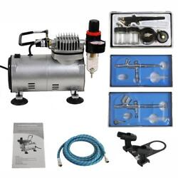 Airbrush Kit with 3 Guns Gravity Siphon Feed Air Compressor Crafts Hobby Art $87.99