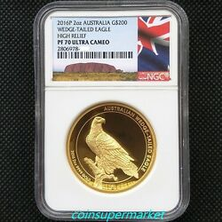 2016 Australia Wedge Tailed Eagle 2oz Gold Proof High Relief Coin NGC PF70UC OGP