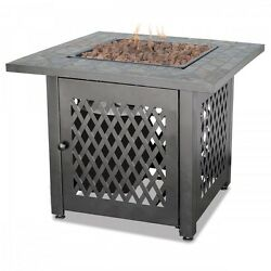 Gas Fire Pit Propane Outdoor Portable Heater Patio Furniture Slate Table