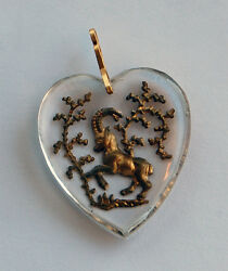 Vintage Glass Zodiac Astrology Heart Pendant Clear Intaglio 30mm • Many Signs $5.99