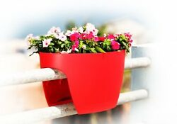 Greenbo XL Railing and Deck Window Box Red 2 pack Plant Window Boxe