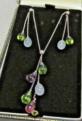 Authentic Tiffany & Company 18k WG Gemstone Necklace & Matching Earrings