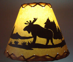 BEAR Table Light Cabin Cottage LAMP SHADE Clip On Bulb Style 9quot; inch Laced Cone $25.99