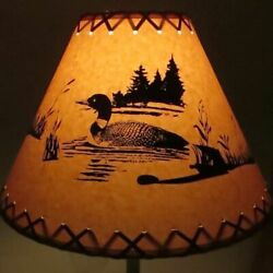LOON Cabin Cottage Table Light LAMP SHADE Clip On Bulb Style 9quot; inch Laced Cone $25.99