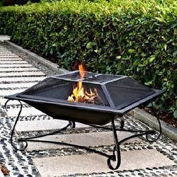 Square Steel Fire Pit 30