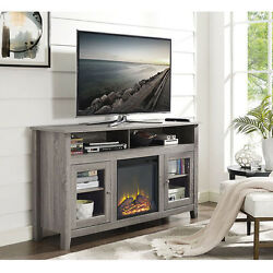58-inch Driftwood Wood Fireplace TV Stand Modern Living Room Furniture