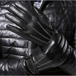 Leather Gloves Full Finger Mens Motorcycle Driving Winter Warm Touch Screen New $8.59