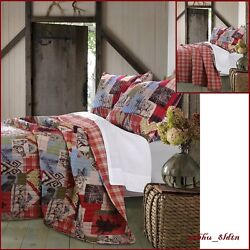 Cotton RV Quilt Set PlaidWildlilife Theme Patchwork Design Rustic Lodge Decor