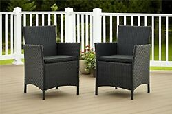 Set of 2 Chairs Outdoor Wicker Patio Dining Chair Cushions Pool Lounge Pad NEW!