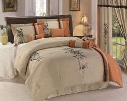 Chezmoi Collection 7p Embroidery Floral Bedding Comforter Set or 4p Curtain Set