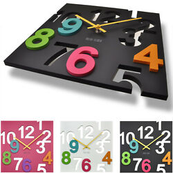Colorful Modern Contemporary Wall Desk Clock with Hollowed Out Numbers 3 Colors $32.99