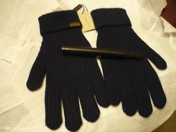 BURBERRY Cashmerewool NAVY ribbed cuffs gloves with NWT!