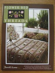 """Need'l Love """"FLOWER BED THREADS"""" Quilt Wool Applique Penny Rug Hooking Patterns"""