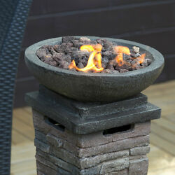 Patio Fireplace Gas Heater with Lava Rocks Stone Resin Column Fire Bowl Pit New