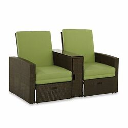 Double Chaise Lounge Outdoor Patio Pool Furniture Canopy Chair Deck Wicker