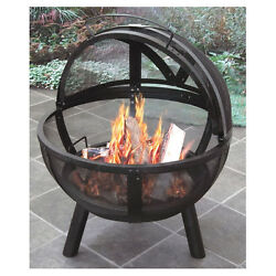 Outdoor Firepit Steel Screened Round Ball of Fire Porcelain Firebowl Portable