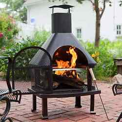 Outdoor Fireplace Chiminea Smoke Stack Grill Cook Heat Logs Bronze 4' Light New