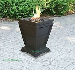 Uniflame Fire Pit Natural Gas Glass Outdoor LP Fireplace Heater Patio Backyard
