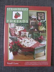 """Need'l Love """"STRAWBERRY THREADS"""" Quilt Wool Applique Penny Rug Hooking Pattern"""
