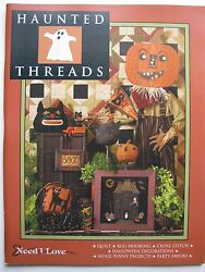 """Need'l Love """"HAUNTED THREADS"""" Quilt Wool Applique Penny Rug Hooking Pattern Book"""